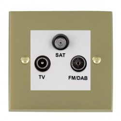 Hamilton Cheriton Victorian Satin Brass TV+FM+SAT (DAB Compatible) with White Insert