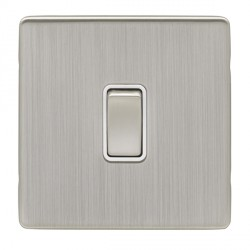Eurolite Low Profile Concealed Fix Satin Nickel 1 Gang 10amp 2way Switch with Matching Rocker and White I...