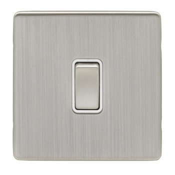 Eurolite Low Profile Concealed Fix Satin Nickel 1 Gang 10amp 2way Switch with Matching Rocker and White Insert