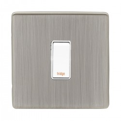 Eurolite Low Profile Concealed Fix Satin Nickel 1 Gang 20amp DP Engraved Appliance Switch with White Insert