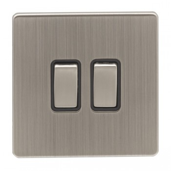 Eurolite Low Profile Concealed Fix Satin Nickel 2 Gang 10amp 2way Switch with Matching Rocker and Black Insert
