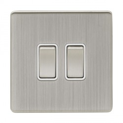 Eurolite Low Profile Concealed Fix Satin Nickel 2 Gang 10amp 2way Switch with Matching Rocker and White Insert