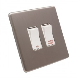 Eurolite Low Profile Concealed Fix Satin Nickel 2 Gang 20amp DP Engraved Appliance Switch with White Insert