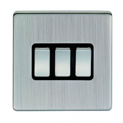 Eurolite Low Profile Concealed Fix Satin Nickel 3 Gang 10amp 2way Switch with Matching Rocker and Black Insert