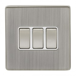Eurolite Low Profile Concealed Fix Satin Nickel 3 Gang 10amp 2way Switch with Matching Rocker and White I...