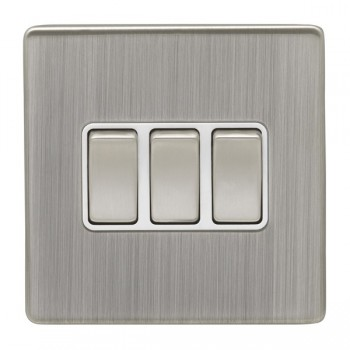 Eurolite Low Profile Concealed Fix Satin Nickel 3 Gang 10amp 2way Switch with Matching Rocker and White Insert