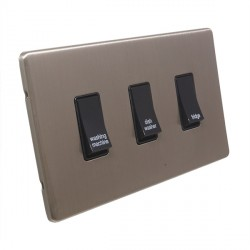 Eurolite Low Profile Concealed Fix Satin Nickel 3 Gang 20amp DP Engraved Appliance Switch with Black Insert