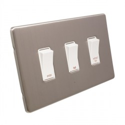 Eurolite Low Profile Concealed Fix Satin Nickel 3 Gang 20amp DP Engraved Appliance Switch with White Inse...