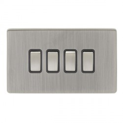 Eurolite Low Profile Concealed Fix Satin Nickel 4 Gang 10amp 2way Switch with Matching Rocker and Black Insert
