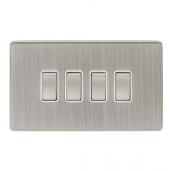 Eurolite Low Profile Concealed Fix Satin Nickel 4 Gang 10amp 2way Switch with Matching Rocker and White I...