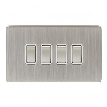 Eurolite Low Profile Concealed Fix Satin Nickel 4 Gang 10amp 2way Switch with Matching Rocker and White Insert