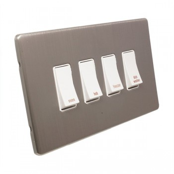 Eurolite Low Profile Concealed Fix Satin Nickel 4 Gang 20amp DP Engraved Appliance Switch with White Insert