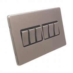 Eurolite Low Profile Concealed Fix Satin Nickel 6 Gang 10amp 2way Switch with Matching Rocker and Black Insert
