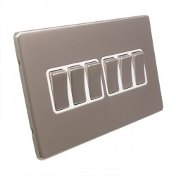 Eurolite Low Profile Concealed Fix Satin Nickel 6 Gang 10amp 2way Switch with Matching Rocker and White Insert