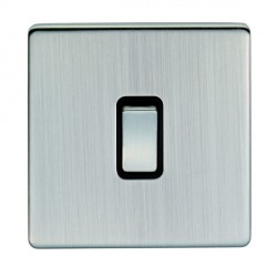 Eurolite Low Profile Concealed Fix Satin Nickel 1 Gang Intermediate Switch with Matching Rocker and Black Insert