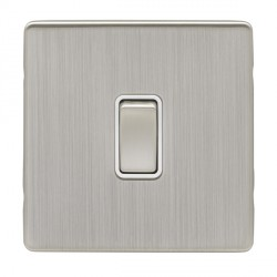 Eurolite Low Profile Concealed Fix Satin Nickel 1 Gang Intermediate Switch with Matching Rocker and White...