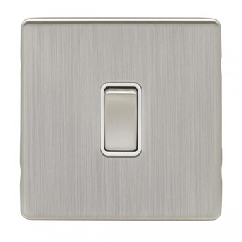 Eurolite Low Profile Concealed Fix Satin Nickel 1 Gang Intermediate Switch with Matching Rocker and White Insert