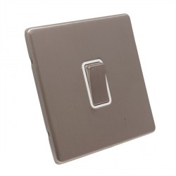 Eurolite Low Profile Concealed Fix Satin Nickel 1 Gang 20amp DP Switch with Matching Rocker and White Insert