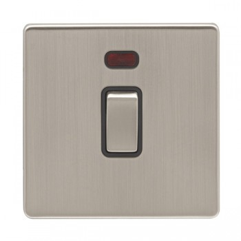 Eurolite Low Profile Concealed Fix Satin Nickel 1 Gang 20amp DP Switch and Neon with Matching Rocker and Black Insert