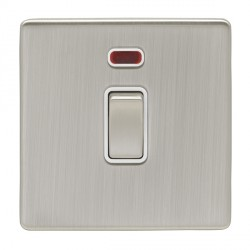 Eurolite Low Profile Concealed Fix Satin Nickel 1 Gang 20amp DP Switch and Neon with Matching Rocker and ...