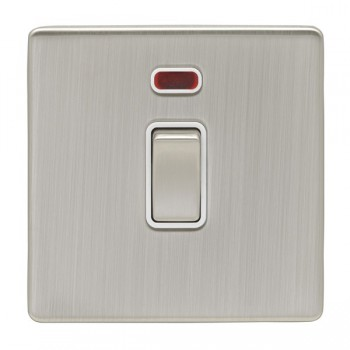 Eurolite Low Profile Concealed Fix Satin Nickel 1 Gang 20amp DP Switch and Neon with Matching Rocker and White Insert