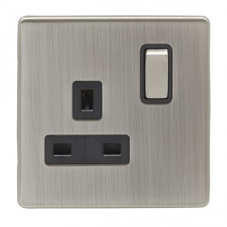 Eurolite Low Profile Concealed Fix Satin Nickel 1 Gang 13amp DP Switched Socket with Matching Rocker and Black Insert