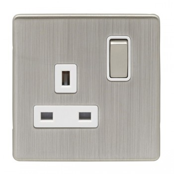 Eurolite Low Profile Concealed Fix Satin Nickel 1 Gang 13amp DP Switched Socket with Matching Rocker and White Insert