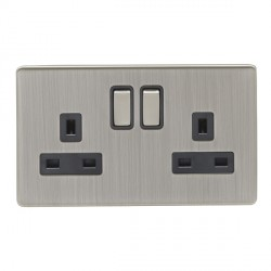 Eurolite Low Profile Concealed Fix Satin Nickel 2 Gang 13amp DP Switched Socket with Matching Rocker and Black Insert