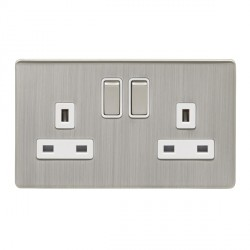 Eurolite Low Profile Concealed Fix Satin Nickel 2 Gang 13amp DP Switched Socket with Matching Rocker and White Insert