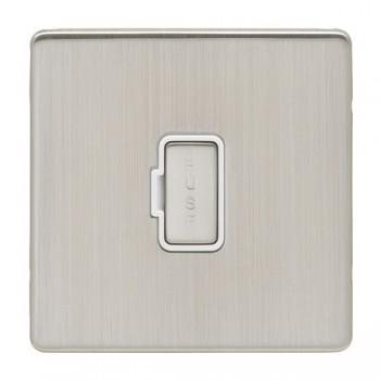Eurolite Low Profile Concealed Fix Satin Nickel 13amp Unswitched Fuse Spur with Matching Rocker and White Insert