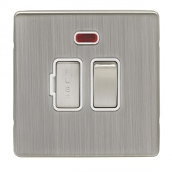 Eurolite Low Profile Concealed Fix Satin Nickel 13amp switched Fuse Spur and Neon with Matching Rocker an...