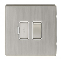 Eurolite Low Profile Concealed Fix Satin Nickel 13amp switched Fuse Spur with Matching Rocker and White I...