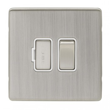 Eurolite Low Profile Concealed Fix Satin Nickel 13amp switched Fuse Spur with Matching Rocker and White Insert