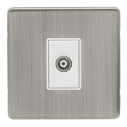 Eurolite Low Profile Concealed Fix Satin Nickel 1 Gang TV Outlet with White Insert