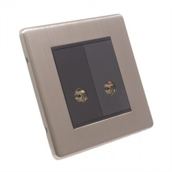 Eurolite Low Profile Concealed Fix Satin Nickel 2 Gang TV Outlet with Black Insert