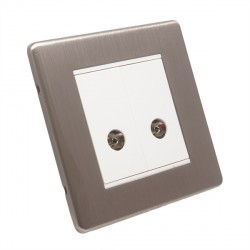 Eurolite Low Profile Concealed Fix ECSN2TV-W Satin Nickel 2 Gang TV Outlet with White Insert