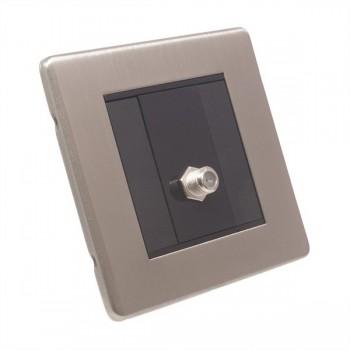 Eurolite Low Profile Concealed Fix Satin Nickel 1 Gang Sat Socket with Black Insert