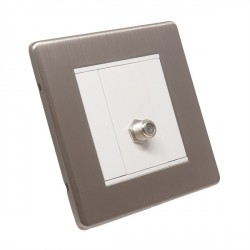 Eurolite Low Profile Concealed Fix Satin Nickel 1 Gang Sat Socket with White Insert