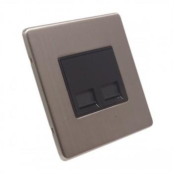 Eurolite Low Profile Concealed Fix Satin Nickel 2 Gang Telephone Slave with Black Insert