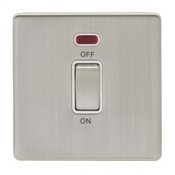 Eurolite Low Profile Concealed Fix Satin Nickel 1 Gang 45amp DP Cooker Switch and Neon with Matching Rock...