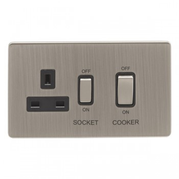 Eurolite Low Profile Concealed Fix Satin Nickel 2 Gang 45amp DP Switch and Socket with Matching Rocker and Black Insert