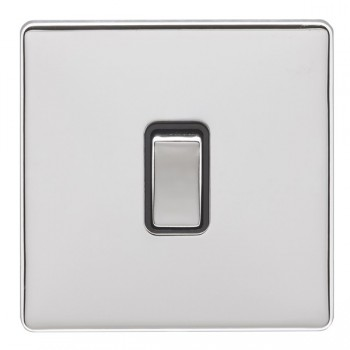 Eurolite Low Profile Concealed Fix Polished Chrome 1 Gang 10amp 2way Switch with Matching Rocker and Black Insert