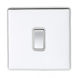 Eurolite Low Profile Concealed Fix Polished Chrome 1 Gang 10amp 2way Switch with Matching Rocker and White Insert