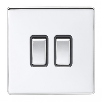 Eurolite Low Profile Concealed Fix Polished Chrome 2 Gang 10amp 2way Switch with Matching Rocker and Black Insert