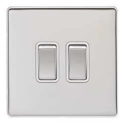 Eurolite Low Profile Concealed Fix Polished Chrome 2 Gang 10amp 2way Switch with Matching Rocker and White Insert