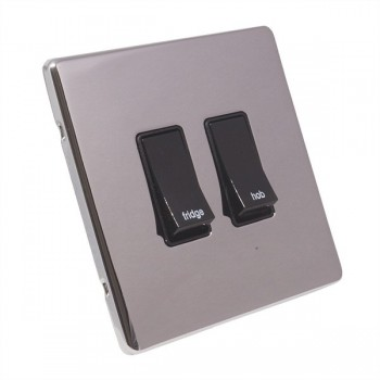 Eurolite Low Profile Concealed Fix Polished Chrome 2 Gang 20amp DP Engraved Appliance Switch with Black Insert
