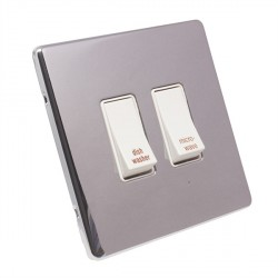 Eurolite Low Profile Concealed Fix Polished Chrome 2 Gang 20amp DP Engraved Appliance Switch with White Insert