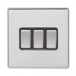 Eurolite Low Profile Concealed Fix Polished Chrome 3 Gang 10amp 2way Switch with Matching Rocker and Blac...