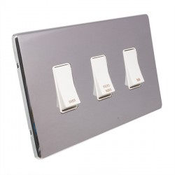 Eurolite Low Profile Concealed Fix Polished Chrome 3 Gang 20amp DP Engraved Appliance Switch with White Insert