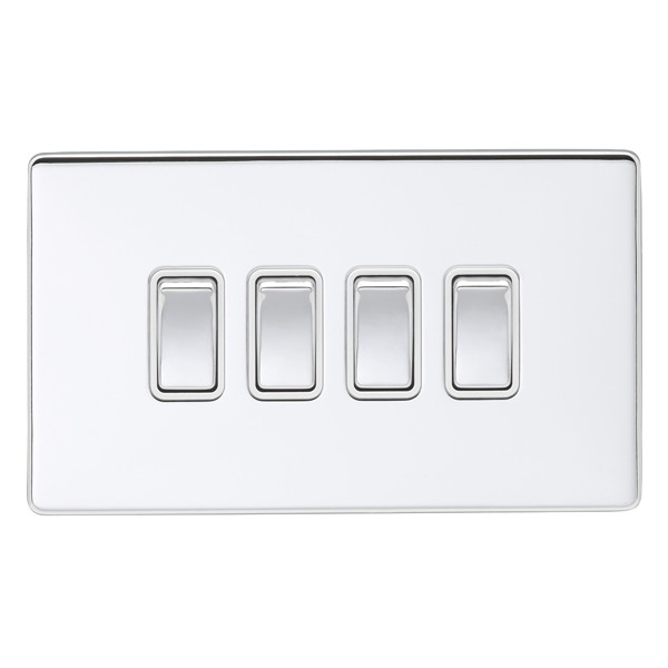 Eurolite Low Profile Concealed Fix Polished Chrome 4 Gang 10amp 2way ...